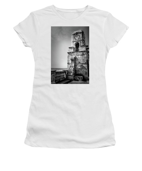 Palm Beach Clock Tower In Black And White Women's T-Shirt