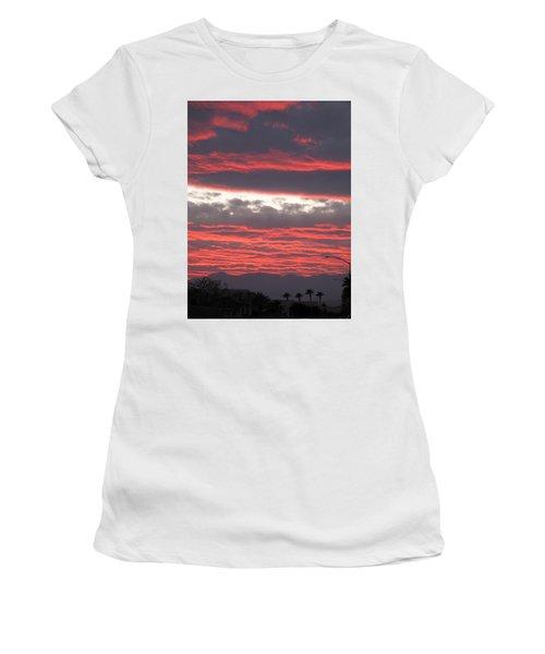 Women's T-Shirt (Junior Cut) featuring the photograph Palm Desert Sunset by Phyllis Kaltenbach