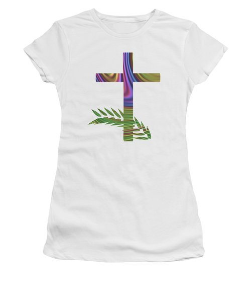 Palm Sunday Cross With Fractal Abstract Women's T-Shirt