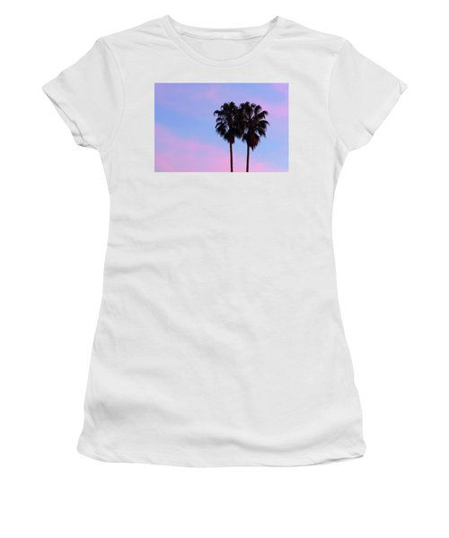 Palm Trees Silhouette At Sunset Women's T-Shirt (Athletic Fit)