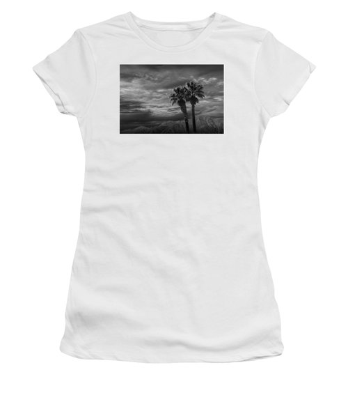 Women's T-Shirt (Junior Cut) featuring the photograph Palm Trees By Borrego Springs In Black And White by Randall Nyhof