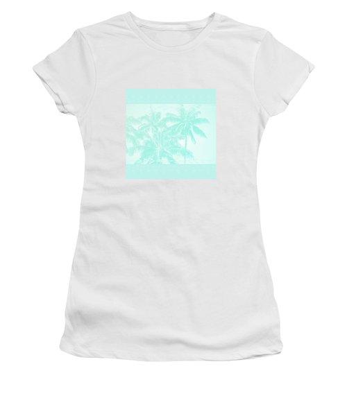 Palm Trees Hawaii Tropical Cyan Women's T-Shirt