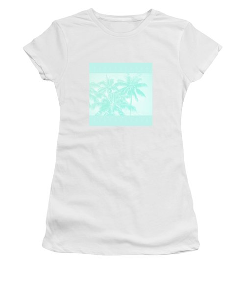 Palm Trees Hawaii Tropical Cyan Women's T-Shirt (Athletic Fit)