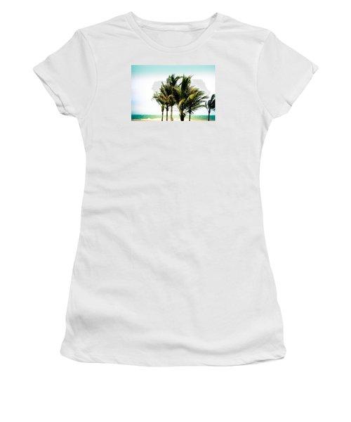 Women's T-Shirt (Junior Cut) featuring the photograph Palm Trees Ocean Breeze by Colleen Kammerer