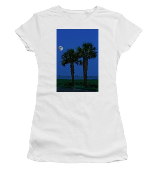 Palms And Moon At Morse Park Women's T-Shirt (Junior Cut) by Bill Barber