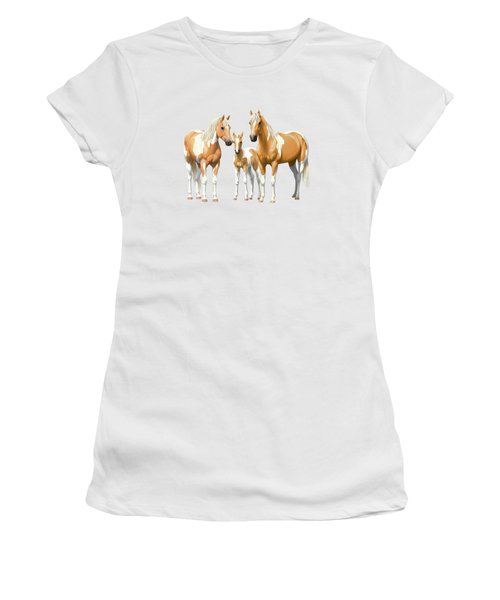 Palomino Paint Horses In Winter Pasture Women's T-Shirt (Athletic Fit)
