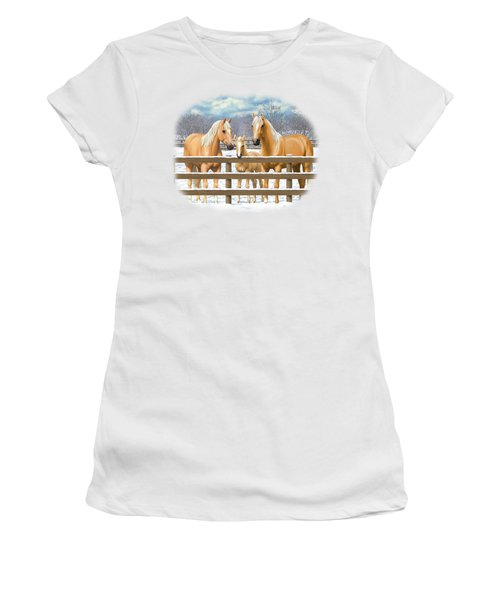 Palomino Quarter Horses In Snow Women's T-Shirt (Athletic Fit)