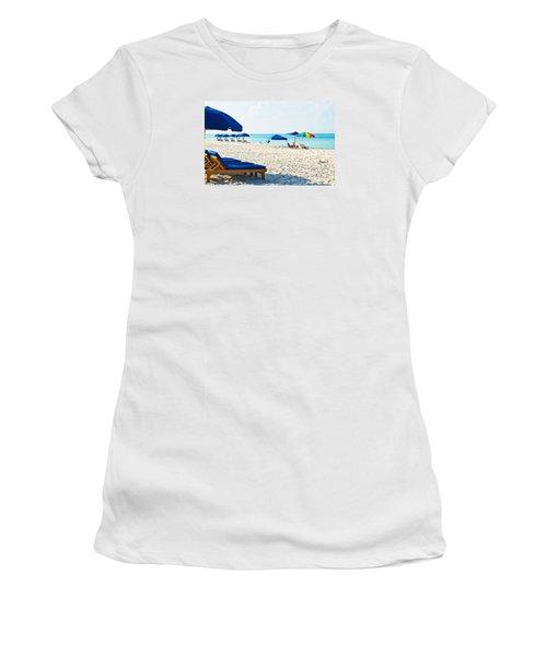 Panama City Beach Florida With Beach Chairs And Umbrellas Women's T-Shirt (Junior Cut) by Vizual Studio