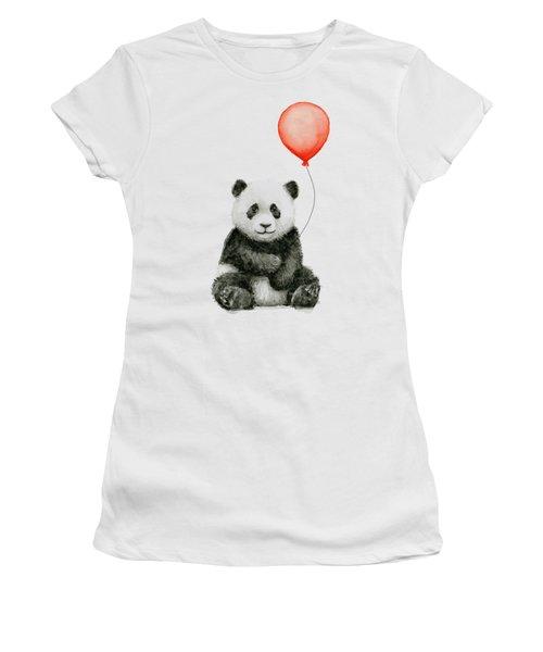 Panda Baby And Red Balloon Nursery Animals Decor Women's T-Shirt