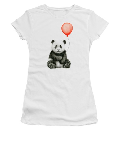 Panda Baby And Red Balloon Nursery Animals Decor Women's T-Shirt (Athletic Fit)