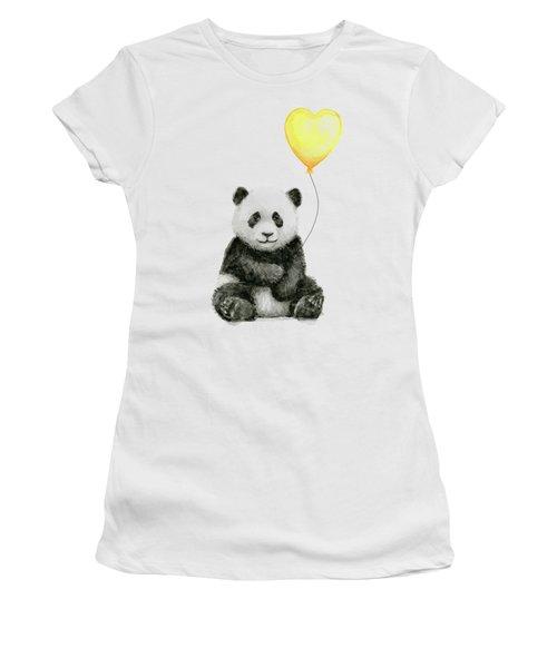 Panda Baby With Yellow Balloon Women's T-Shirt