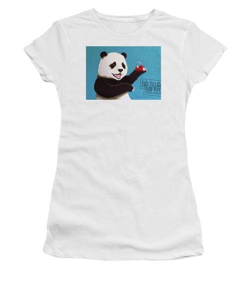 Panda Joy Blue Women's T-Shirt (Athletic Fit)