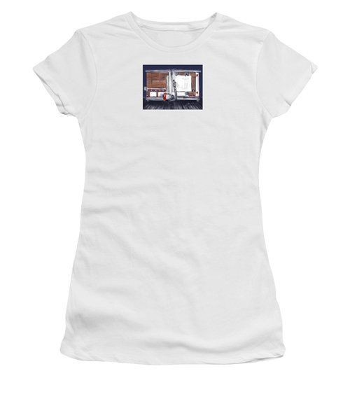 Women's T-Shirt (Junior Cut) featuring the painting Panel Saw by Jean Pacheco Ravinski