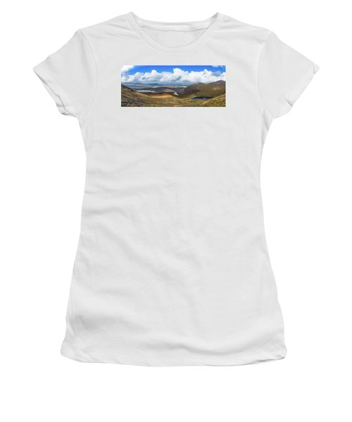 Panorama Of Valleys And Mountains In County Kerry On A Summer Da Women's T-Shirt (Junior Cut) by Semmick Photo