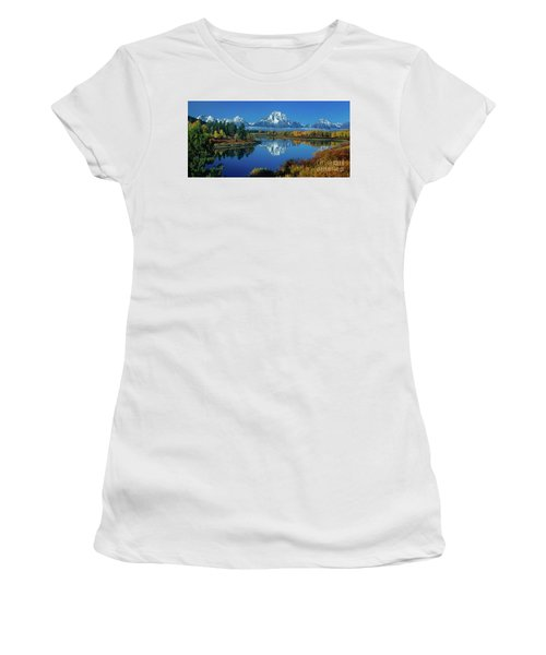 Women's T-Shirt featuring the photograph Panorama Oxbow Bend Grand Tetons National Park Wyoming by Dave Welling
