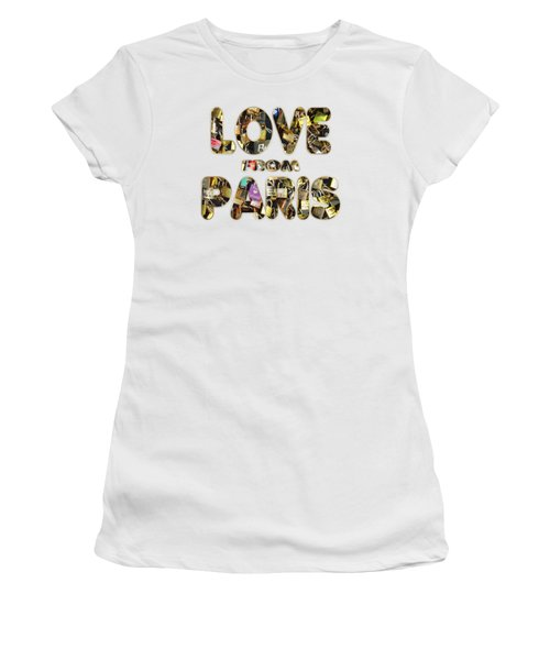 Women's T-Shirt (Junior Cut) featuring the painting Paris City Of Love And Lovelocks by Georgeta Blanaru