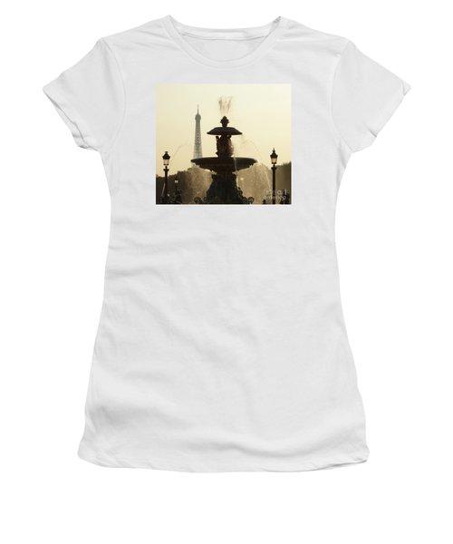 Paris Fountain In Sepia Women's T-Shirt (Athletic Fit)
