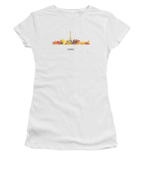 Paris France Skyline Women's T-Shirt (Junior Cut) by Marlene Watson