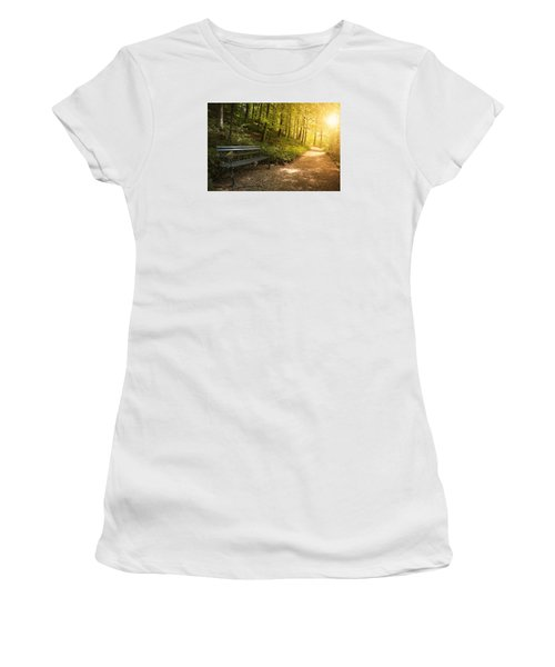 Women's T-Shirt (Junior Cut) featuring the photograph Park Bench In Fall by Chevy Fleet
