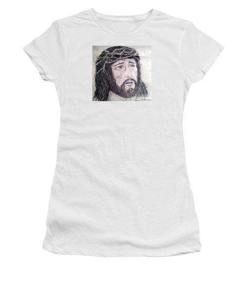 Women's T-Shirt (Junior Cut) featuring the painting Passion Of Christ by Brindha Naveen