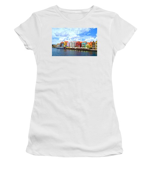 Pastel Building Coastline Of Caribbean Women's T-Shirt (Athletic Fit)