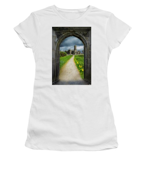 Women's T-Shirt (Athletic Fit) featuring the photograph Path To Ireland's Quin Abbey, County Clare by James Truett