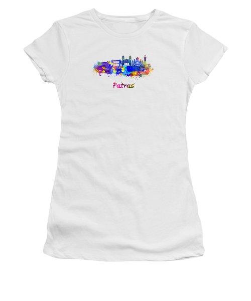 Patras Skyline In Watercolor Women's T-Shirt