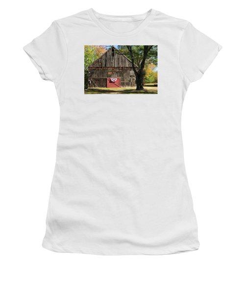 Patriotic Barn Women's T-Shirt (Junior Cut) by Nancy De Flon