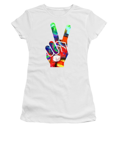 Women's T-Shirt (Junior Cut) featuring the digital art Peace Hippy Paint Hand Sign by Edward Fielding