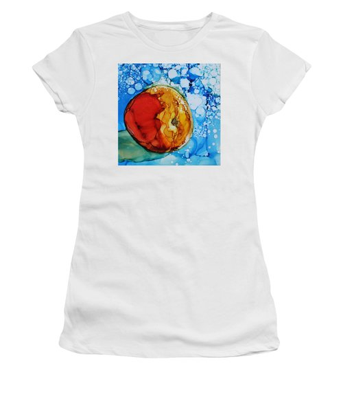 Women's T-Shirt featuring the painting Peach by Ruth Kamenev