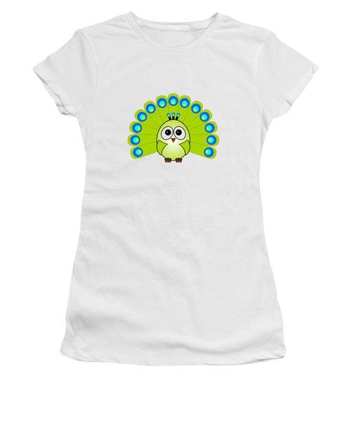 Peacock  - Birds - Art For Kids Women's T-Shirt (Junior Cut) by Anastasiya Malakhova