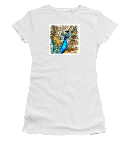 Women's T-Shirt (Junior Cut) featuring the digital art Peacock by Charmaine Zoe