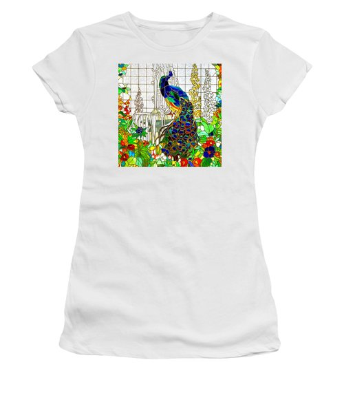 Peacock Stained Glass Women's T-Shirt (Athletic Fit)