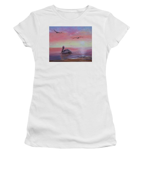 Women's T-Shirt featuring the painting Pelican Bay by Ruth Kamenev