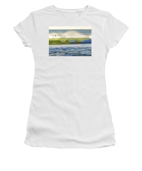 Women's T-Shirt (Junior Cut) featuring the photograph Pelican Flying Over Wind Wave by John A Rodriguez