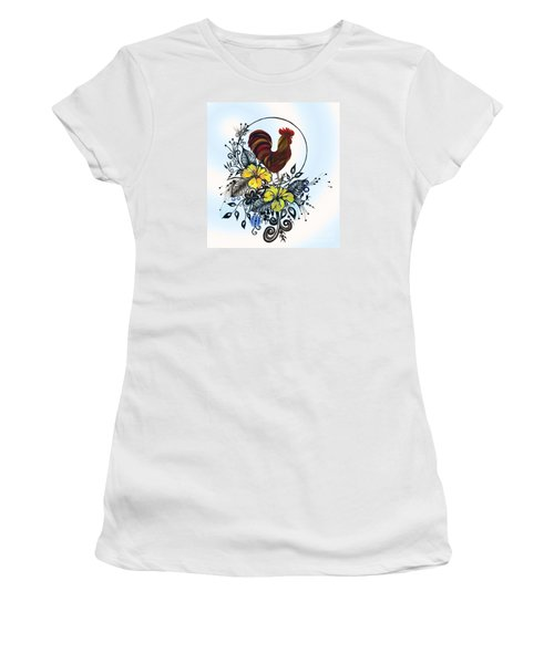 Pen And Ink Drawing Rooster Art Watercolor And Digital Art Women's T-Shirt (Junior Cut) by Saribelle Rodriguez