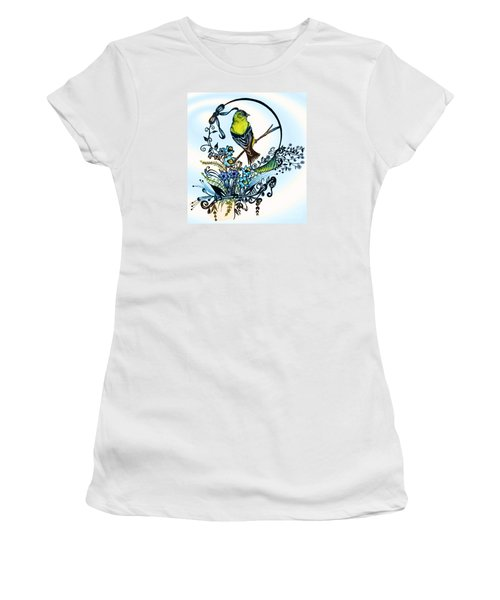 Pen And Ink Art, Colorful Goldfinch, Watercolor And Digital Art, Wall Art, Home Decor Design Women's T-Shirt (Junior Cut) by Saribelle Rodriguez