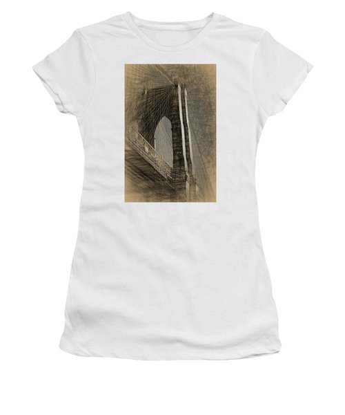 Pencil Sketch Of The Brooklyn Bridge Women's T-Shirt (Athletic Fit)
