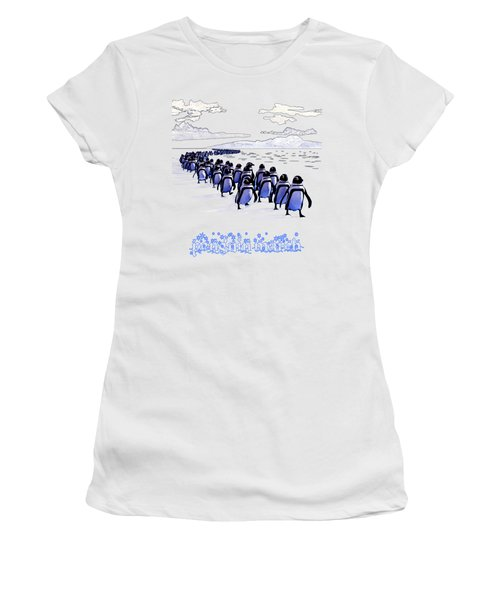 Penguin March Women's T-Shirt (Junior Cut) by Methune Hively