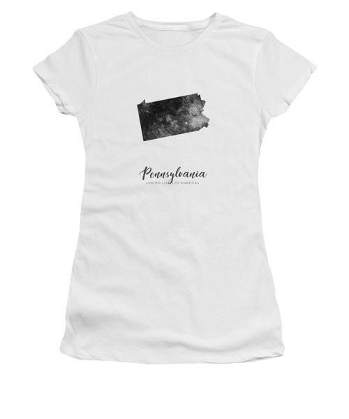 Pennsylvania State Map Art - Grunge Silhouette Women's T-Shirt