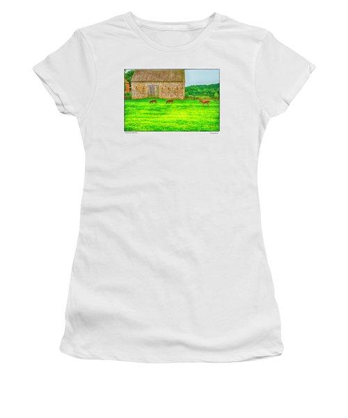 Pennsylvania's Oldest Barn Women's T-Shirt (Junior Cut) by R Thomas Berner