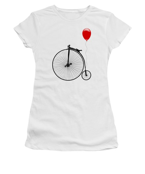 Penny Farthing With Red Balloon Women's T-Shirt