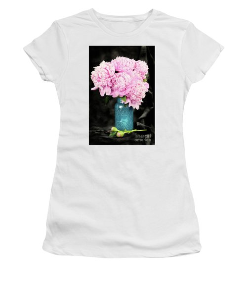 Peonies In A Blue Mason Jar Women's T-Shirt