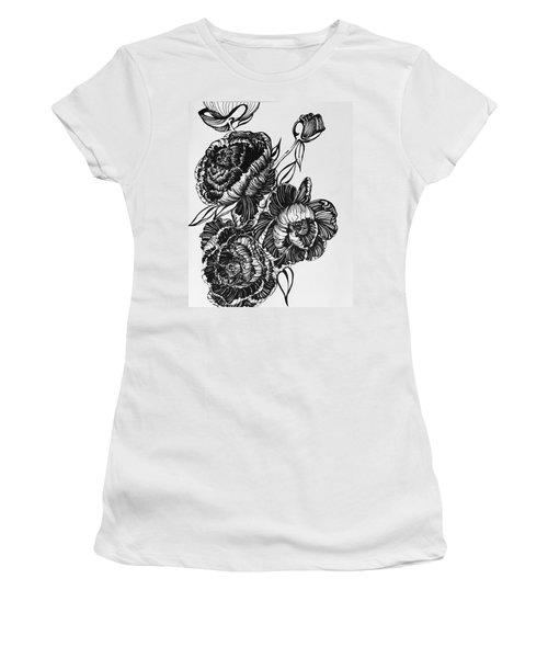 Peonies Line Drawing Women's T-Shirt