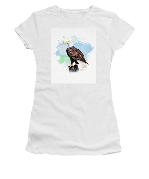 Women's T-Shirt (Junior Cut) featuring the painting Perched Eagle by Greg Collins