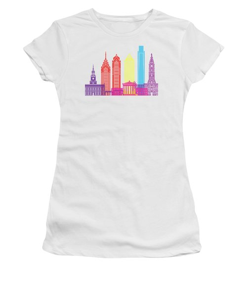 Philadelphia Skyline Pop Women's T-Shirt (Athletic Fit)