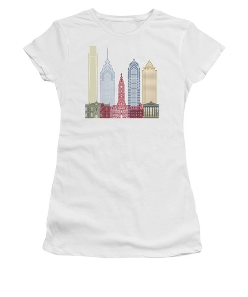 Philadelphia Skyline Poster Women's T-Shirt (Junior Cut) by Pablo Romero
