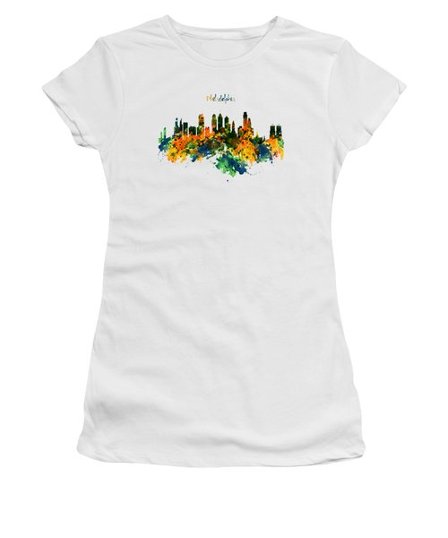 Philadelphia Watercolor Skyline Women's T-Shirt (Junior Cut) by Marian Voicu