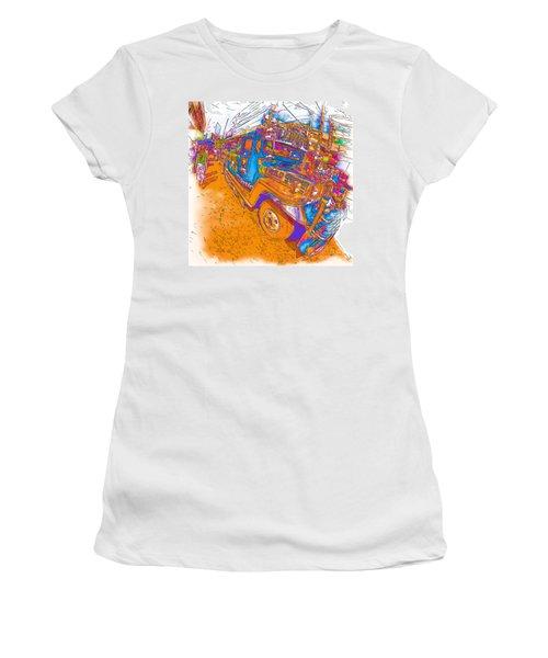 Philippine Girl Walking By A Jeepney Women's T-Shirt