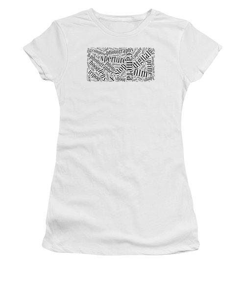 Photography Word Cloud Women's T-Shirt (Junior Cut) by Edward Fielding